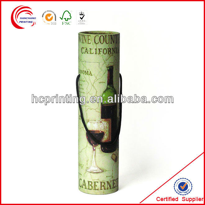 Fashion High Quality Round Cardboard Wine Box with Lid