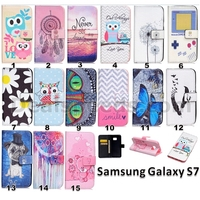 Wallet Leather Flip Cover Protective Case for Samsung Galaxy S7 - Chevron & Smile