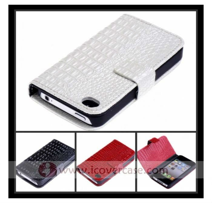 Croco Leather Wallet Case for Apple iPhone 4g,for iphone4 case