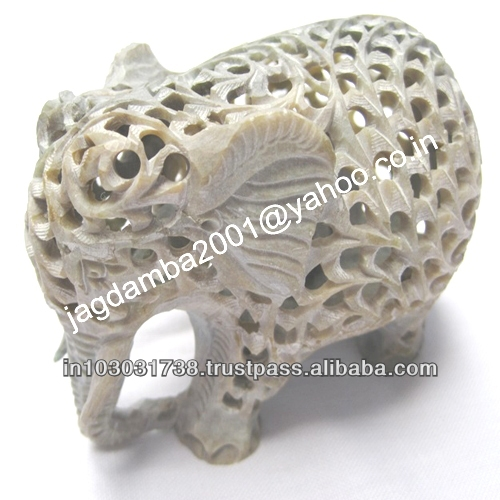 Decorative SOAPSTONE UNIQUE ELEPHANT CARRYING BEAUTIFUL UNDERCUT WORK ART
