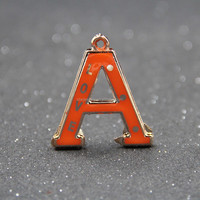 plastic initial letter charm jewelry accessories paint spray plastic alphabet Charms for key chain