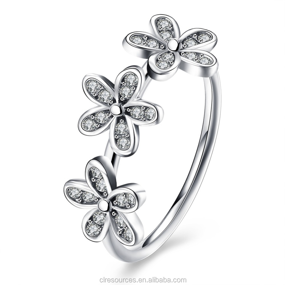 6925 Sterling Silver Flower Ring With China CZ Wholesale Flower Belly Ring Flower of Life Ring