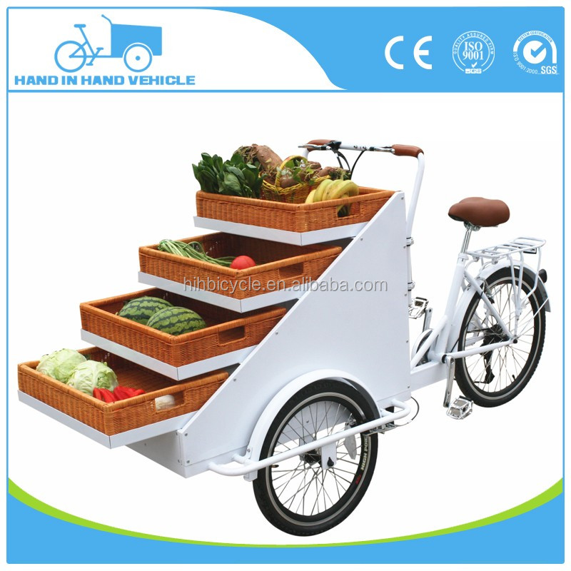 2017 new design 3 wheels adult basket cargo bike tricycle wholesale supplier