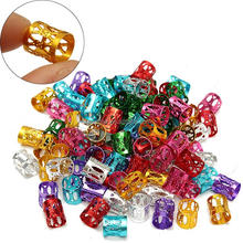 100Pcs/lot Mixed Color Hair Braid Bead Dreadlock Beads Micro Rings Link Adjustable Hair Braids Cuff Clip 8mm Hole Styling Tool