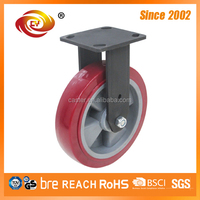 200 mm Red PU Fixed Caster And Wheel