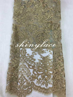 Charming lace for mother of bride african gold tulle lace with rhinestone