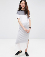 Knitted Column Dress in Color Block