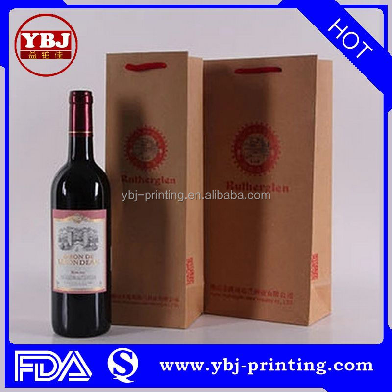 Machine Made Bottle Packaging Pdf Accpet Custom Printed Recycled Paper Wine Bag/ Paper Gift Bags With Handles