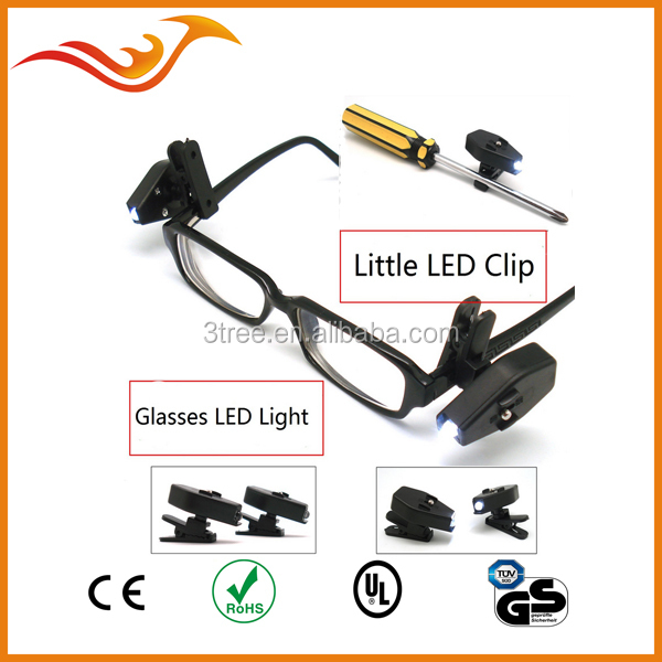 high brightness 1 LED clip on reading light for glass and night reading