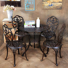 High Quality New Design Outdoor Furniture Patio Garden Picnic Coffee Shop Wrought Iron Chair And Table Set With Four Chairs