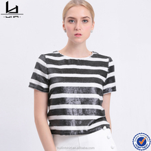 Chinese factory clothes women ladies tie up sequin design striped blouse for women bangkok