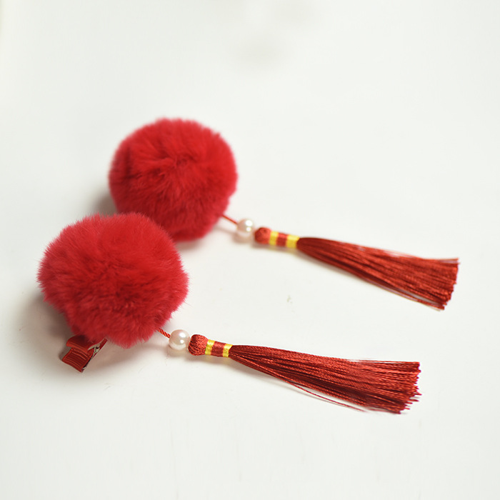 2pcs/pair Chinese traditional rabbit hair ball hairclips for girls kids baby high quality tassels hairpins