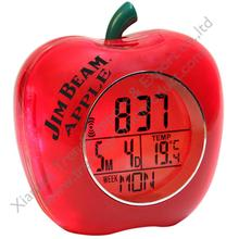 Easy viewing back light fun Time Reporting Apple Shaped digital Talking Alarm Clock for excellent giveaway schools teachers