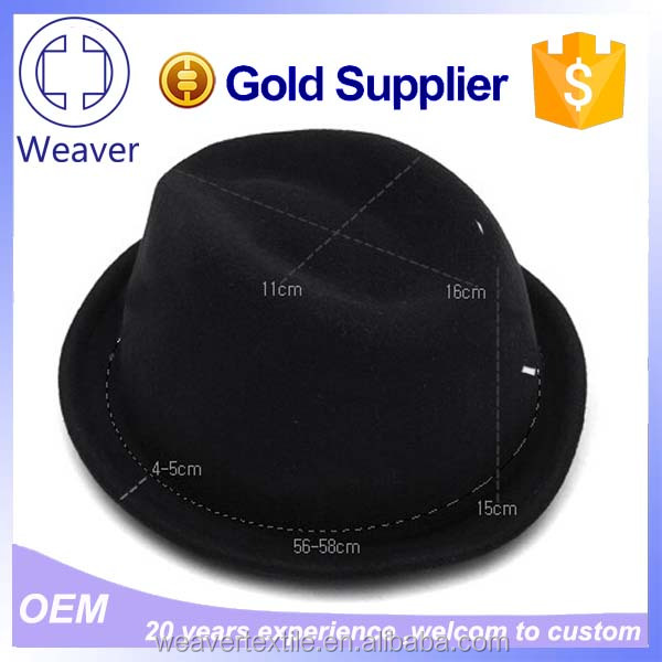 Promotion High Quality Black Fedora unisex Hats