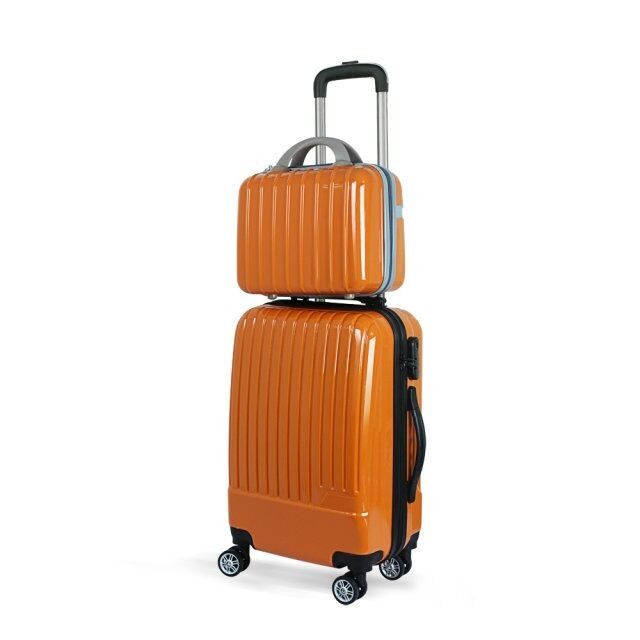 Fashion 4 wheels trolley travel luggage bags polyester suitcase with makeup bag