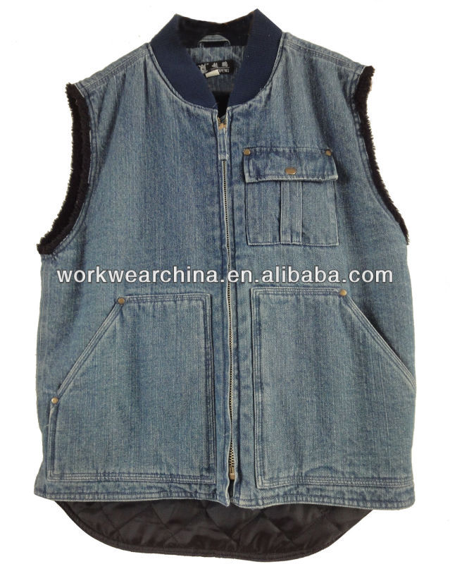 Cotton Demin Insulation Workwear Vest for Winter