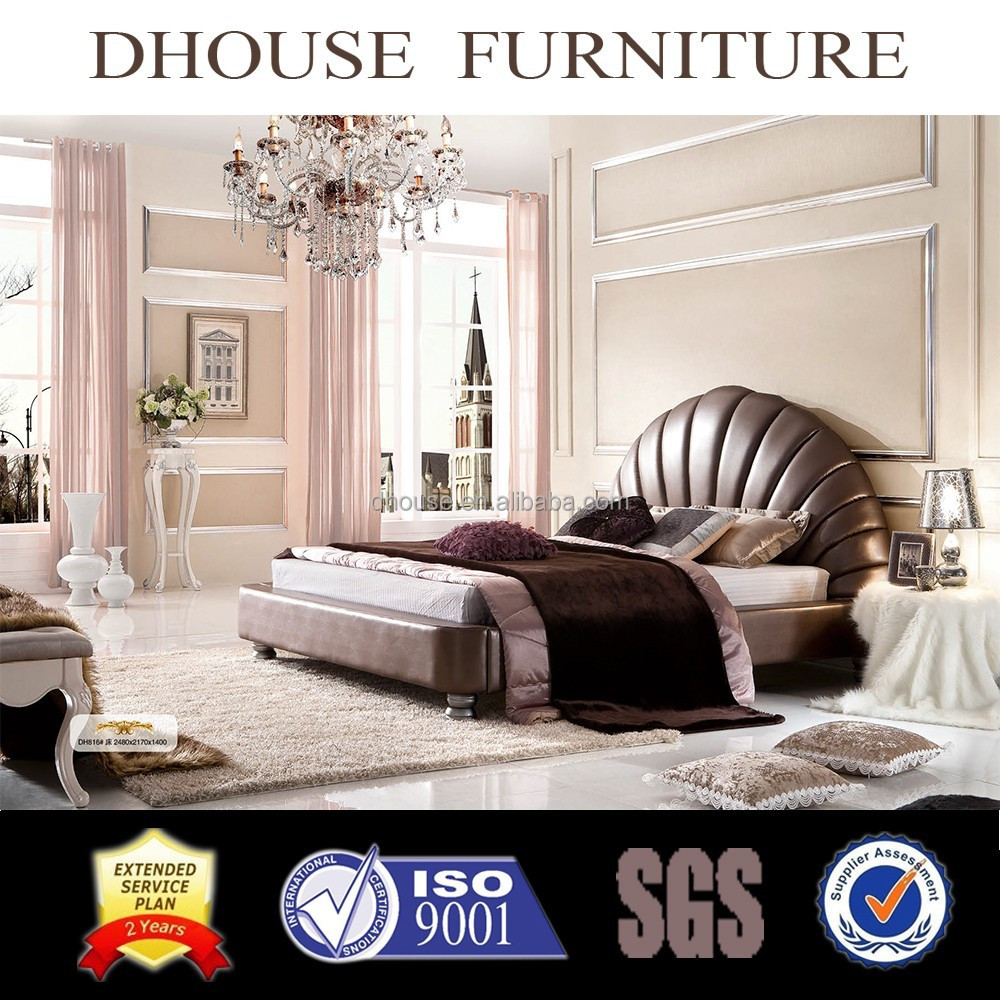Hotel bedroom furniture neoclassical leather bed DH816