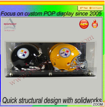 POP clear plexiglass mini football helmets display cases