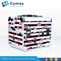 Customized portable travel hair-stylist makeup box with leather cover