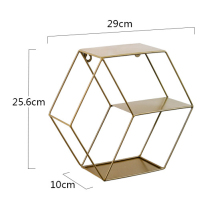 Ins Popular Metal Wall Hanging Rack Decoration Multifunctional Display Wall Mounted Storage <strong>Shelf</strong> With Floating Hexagon Metal