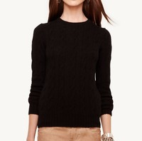 15PKCAS52 2016 winter autumn thick crewneck cable knit silk cashmere pullover sweater