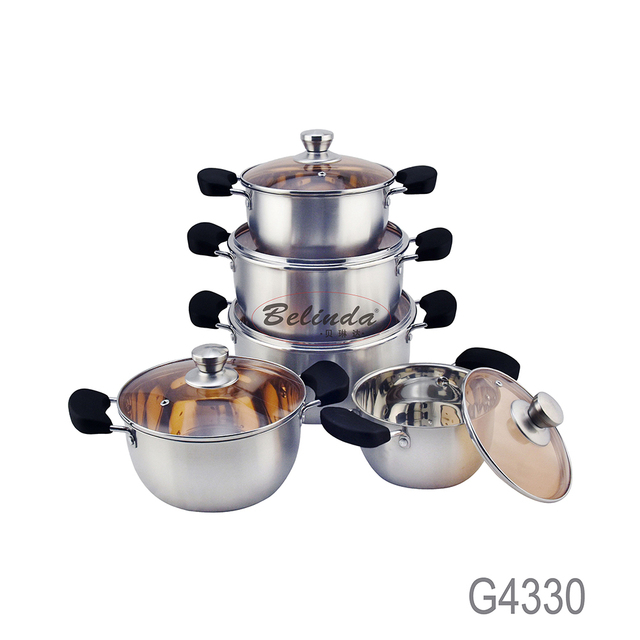 Kitchen Cooking Cookware Sets Bakelite Handle Stainless Steel Casserole with Tempered Glass Lid