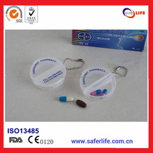Wholesales High quality Travel Double Section Round Pill Case in Stock Pill Box With Keychain for promotion gift SL-012
