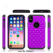 New Arrival Hybrid Dual Layer Protective Jewel Rhinestone Crystal Bling Case Cover for iPhone X