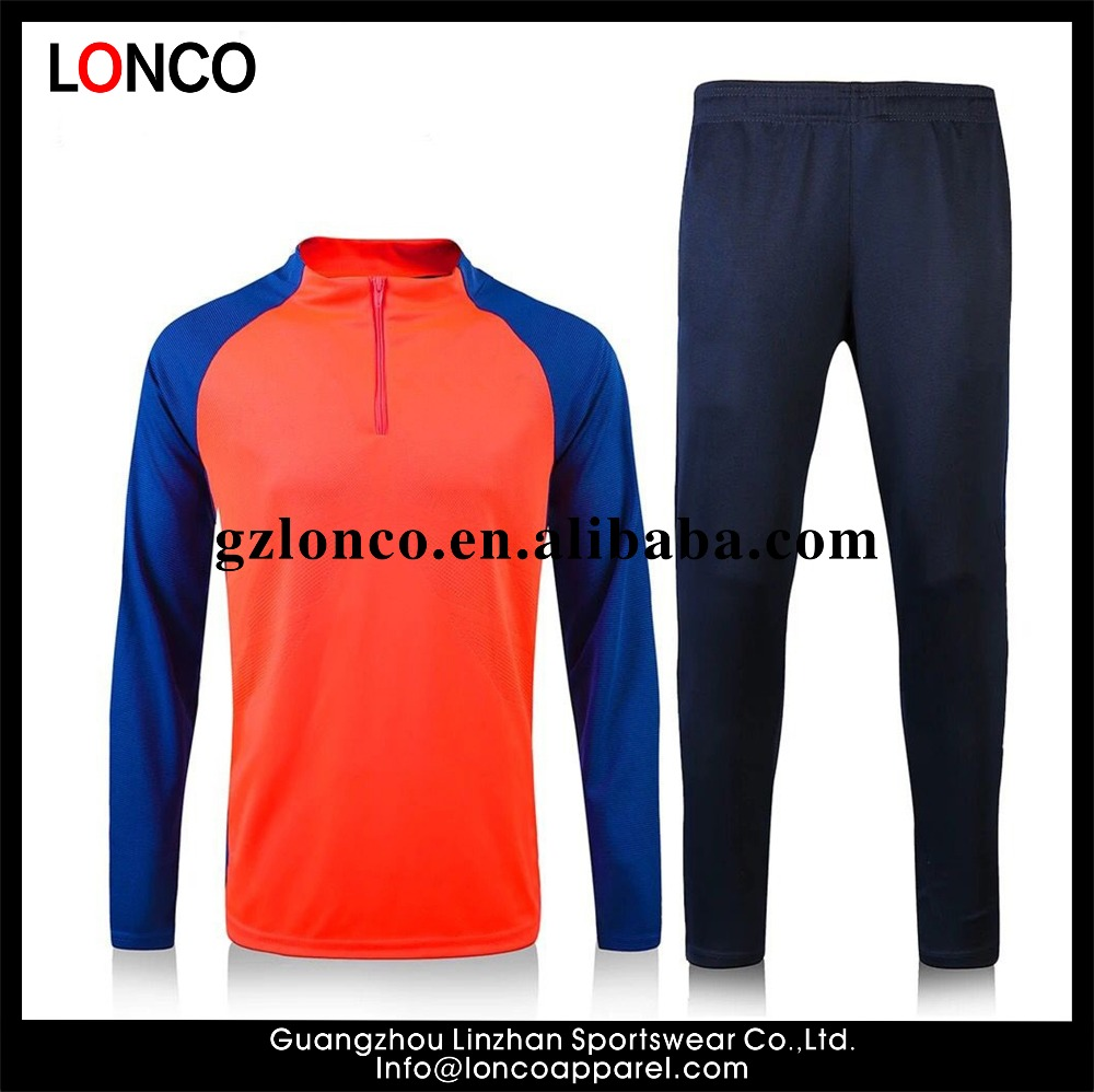 Custom 100% Polyester Tricot Fabric Football Tracksuit/Plain Mens soccer tracksuit training Europe soccer team tracksuit