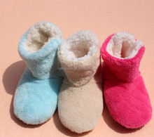 Winter New girls's Warm Boots Coral Fleece Indoor Shoes Plush Warm Indoor Boots Soft Bottom Floor Cotton fluffy slippers