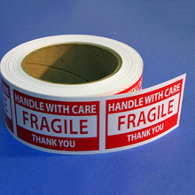 Best price custom glossy fragile label sticker in roll warning label