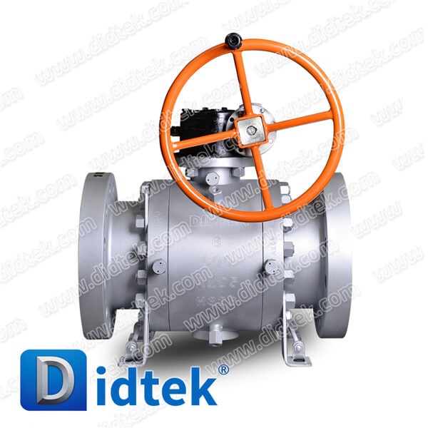 Didtek Forged Steel Trunnion Full Bore 6 inch, 600LB Soft Sealing Ball Valve with Worm Gear