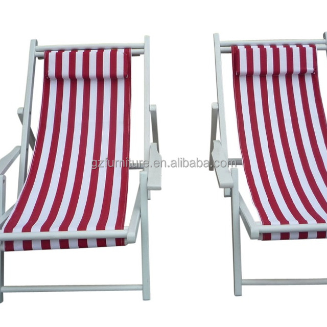 Deck chairs canvas sun loungers