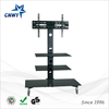 modern living room vertical tv stand with wheels, tempered glass TV stand
