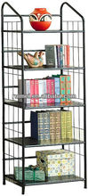 Black metal 5 tier bookshelf book case