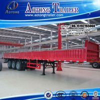 China factory 3 axle side wall semi trailer/ 40ft flatbed container trailer / bulk cargo trailer truck for sale