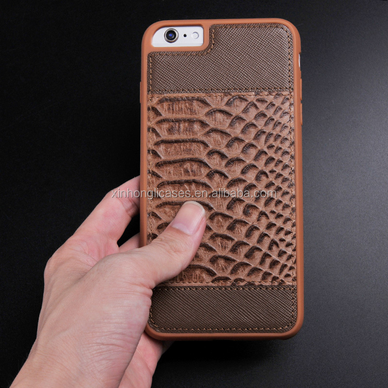 New arrival leather cell phone case for iphone 7, High Quality genuine leather mobile phone cover for man