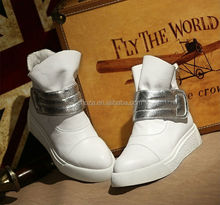C26762A Latest Lady White Genuine Leather Short Flat Boots