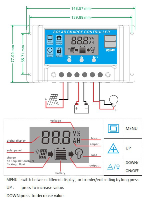 12V 24V 48V 10A 20A 30A smart LCD PWM with time control light solar charge controller