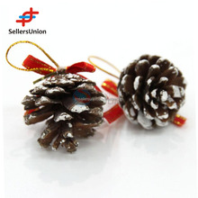 No.1 yiwu exporting commission agent wanted 6 pcs unique designs christmas hanging pine cone decorations