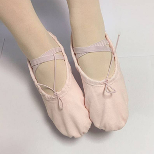 In Stock Wholesale Cheap Free Sample Kids Pink Canvas Ballet Shoe
