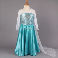 2015 In stock quick delivery small moq girl frozen elsa dress wholesale frozen princess elsa costume