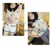 2013 KOREAN STYLE BUTTERFLY PRINTED WOMEN'S BLOUSE