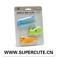 Unique design animal style plastic bread bag clip