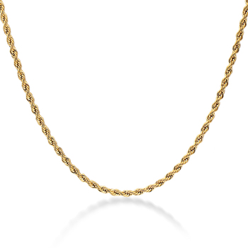 Zhongzhe Jewelry Fashion Stainless Steel Chain Mens 18k Gold Plated Rope Chain Necklace, 18-36Inches