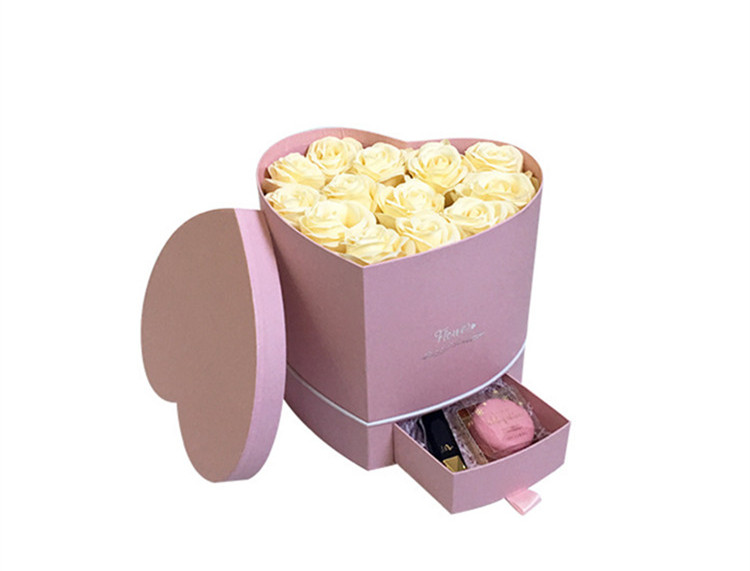 Manufacturer Wholesale Luxury Heart Shape Flower Box With Drawer