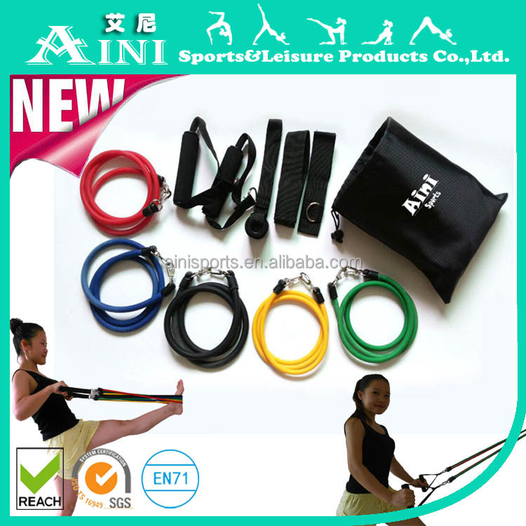 2016 New 11pcs Resistance Bands with Foam Handles For Yoga Pilates Abs Exercise Tube Workout Fitness Kits