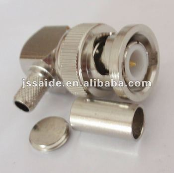 BNC male crimp right angle connector for RG58
