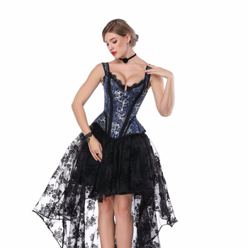sexy high quality women slimming  gothic Embroidery satin girdle corset top