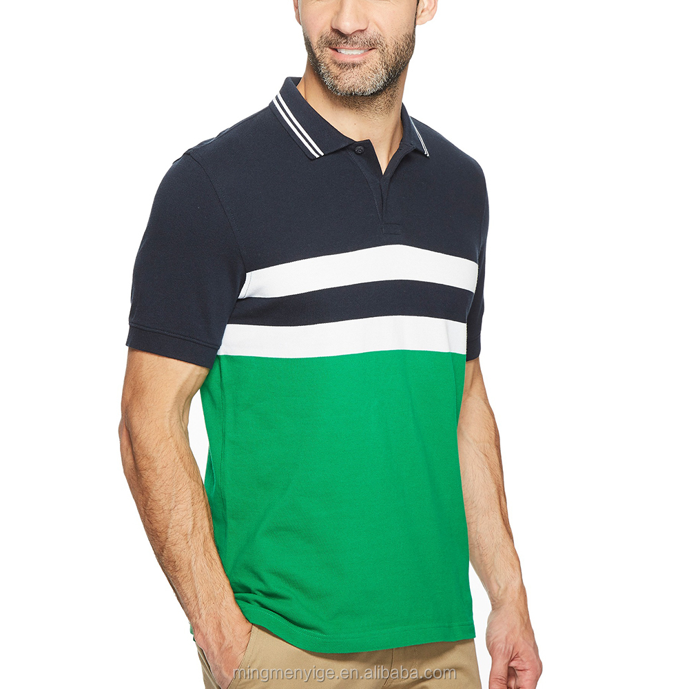 Embroidered Mens Color Contrast Polo Shirts Customized Logo